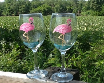 Flamingo wine glass....each glass 14.95 ....single glass  listing....handpainted....great summer glass...housewarming glass...tropical glass