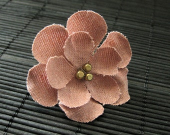 Mauve Pink Flower Ring. Fabric Flower Ring. Cherry Blossom Ring. Bronze Filigree Adjustable Ring. Handmade Jewelry.