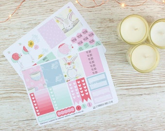 Spring Bunny Erin Condren Compatible Planner Kit; Weekly Kit; Planner Stickers; Bullet Journal; Mini Kit; Spring Weekly Kit; Rabbit Kit
