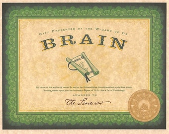 Wizard Of Oz Emerald City Certification Of Brains > The Scarecrow > Prop/Replica > Dorothy > Tin Man > Lion