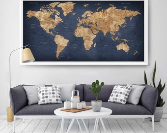 Large world map etsy world map push pin large world map abstract world map travel gift gumiabroncs Image collections