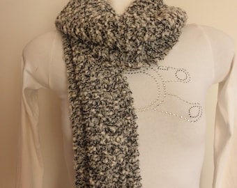 White boucle lurex,black,grey fashion knitted scarf,accessory woman,long scarf