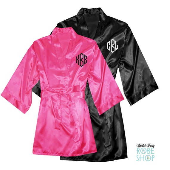 personalized his and hers satin robe set with monogrammed