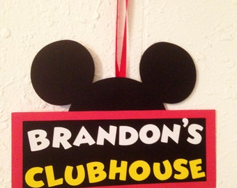 Mickey Mouse clubhouse door hanger, Mickey or Minnie, Mickey Mouse party, Disney birthday, Minnie Mouse Party