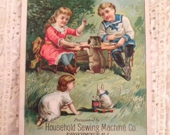 Antique Vintage Post Card Trade Card Advertising Card Household Sewing Machine Company
