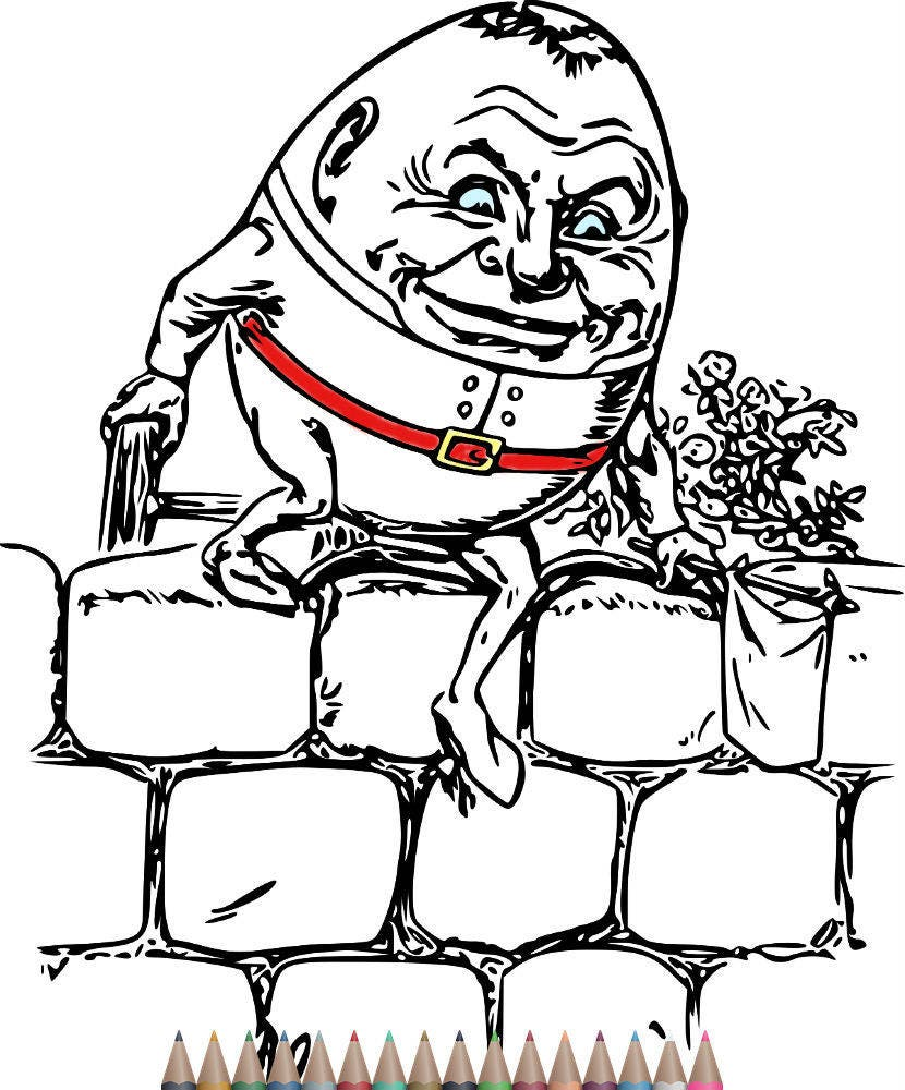 Adult Coloring Pages Humpty dumpty art Printable Coloring
