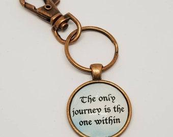 Rainer Maria Rilke quote, keychain, journey quote,
