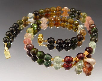 Multicolored Tourmaline and 18 Karat Gold Necklace Set (SET-295)