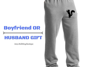 Gift for Him - Valentine's Day Gift NUTS Over You, Gag Gift, Squirrel Pants, After Your Nuts, Lounge Pants Boyfriend Gift