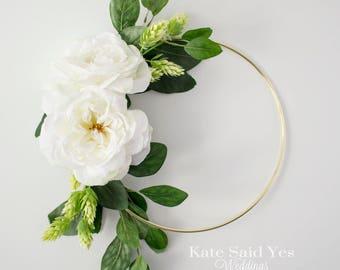 Hoop Wreath, Floral Hoop, Wedding Hoop, Flower Hoop, Wedding Decoration, White Rose Floral Hoop, Hoop Bouquet, Greenery Wreath, Wedding Wrea