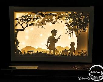 BLOW-Light box-Shadow box-Regalo-Fatto a mano-Handmade-Wedding-Love-Regalo originale-Paper-arte-Papercutting-Paper cut art-Dandelion