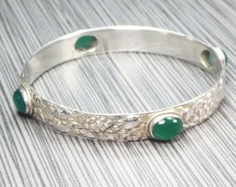 Vintage Sterling Silver Bangle Bracelet Green Stone Bracelet Slip On Sterling Bracelet Silver Bracelet Floral Bracelet Heavy Repousse