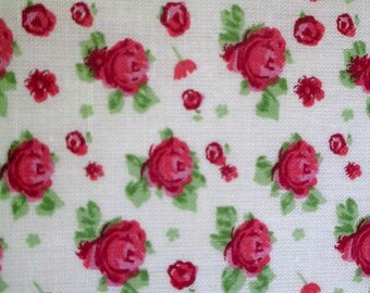 1 cut of fabric has beige flowers pink 20x25cm 100% cotton