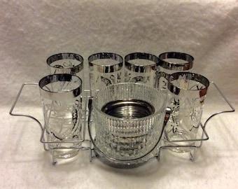 25th Wedding Anniversary tray, glasses coasters ice bucket set. Free ship