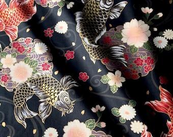 Japanese fabric, carp, black background, cotton 110 x 50 (311 (A)