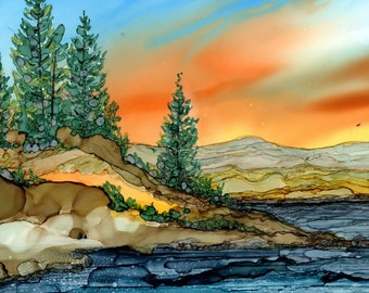 Trivet- Dye Sublimation Imprint of Alcohol Ink painting on a 6x6 ceramic tile-  Alcohol Inks- Art Tile- Mountain lake