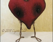 Mini Small heart anthropomorphic doll Valentine love farmhouse creepy cute doll decor cottage spooky Quirky Primitive doll red