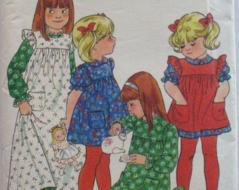 Butterick 5171 - Girl's Semi-Fitted Dress and Pinafore, Prairie Dress - Size 6X, Breast 25 1/2, Uncut