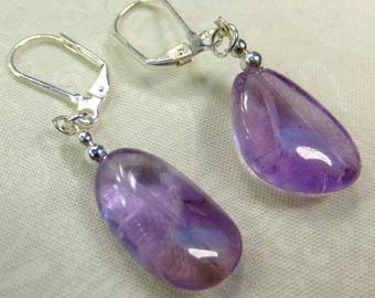 Lavender Amethyst Stone Earrings with Lever back Ear wires Purple Violet