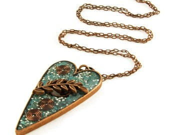 Orgone Energy Pendant - Large Antique Copper Toggle Heart - Turquoise Gemstone - Artisan Jewelry