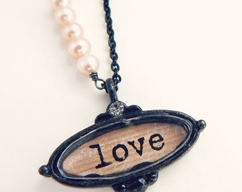 Claire - Love necklace - antique style pendant - love shadowbox necklace - Valentine's Day Jewelry