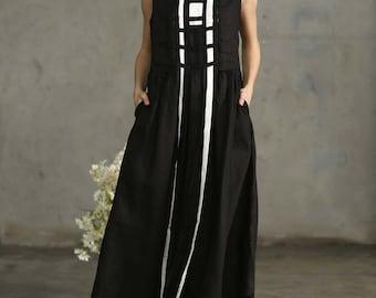 Little Black Dress, Maxi Dress, Long Black Dress, Linen Dress, Black Black Cocktail Dress Prom Dress, Linen Tunic Dress, Black Kaftan