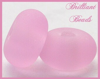 """Frosted Soft Pink...""""Sea Glass"""" Spacer Bead Pair...Handmade Lampwork Beads SRA, Made To Order"""