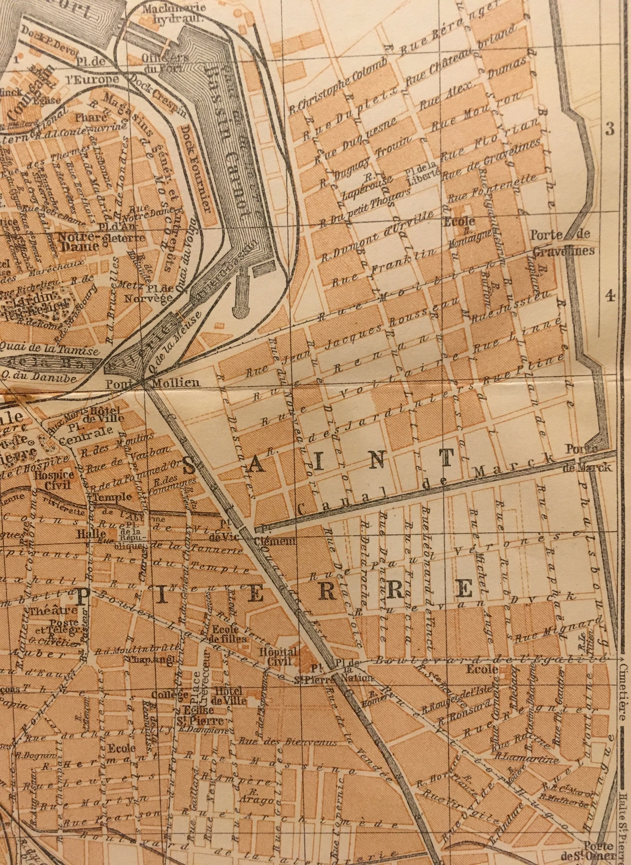 Calais map print vintage 825 x 625 inches 1913 Calais France