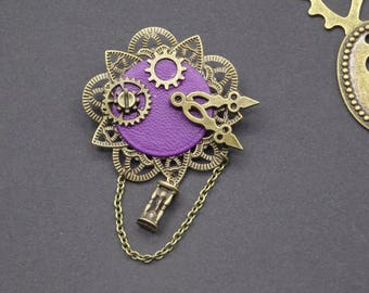 Steampunk Purple Leather gear and clock vintage filigree pin