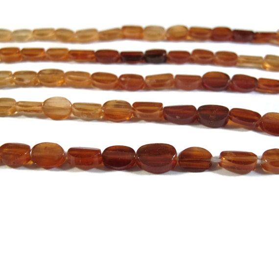 Shaded Hessonite Beads, Flat Faceted Oval Beads, 14 Inch Strand of Long Drilled Gemstones for Jewelry Making (S-Hes2)