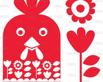 Happy Chicken Fabric by RuthRobson