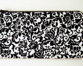 Damask Zipper Pouch, Make Up Bag, Gadget Bag, Pencil Pouch, Black and White
