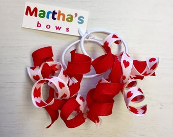 Hearts red and white Valentines curly hair elastics pair