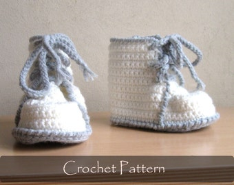 CROCHET PATTERN - Crochet Booties Pattern Martens Boots Child Shoes Pattern Children Boy Booty Pattern Toddler Sizes 12-36 months PDF P0034
