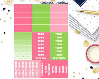 """Pink and Green Collection  """"Washi"""" and Section Header Planner Stickers! KT322"""
