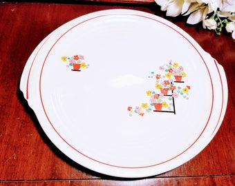 Art Deco Edwin Knowles Red and White Cake Plate, Penthouse Pattern, Yorktown Shape, Circa 1930s, Art Deco Design, Flowers on Trellis, Round