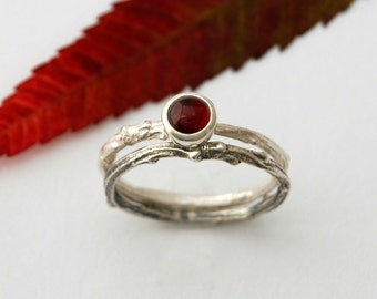 Twig and garnet stack ring set - sterling silver willow branch ring