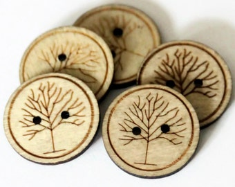 5 or 10 pcs Wooden Tree Buttons 25mm - Tree Printed Button - Tree Etched Buttons - Round Buttons - Woodland Buttons - Natural Wood - NW60