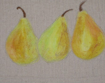 "Wall Art, Hand-Painted and Quilted, ""Tres Pears"""
