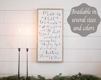 For Unto Us a Child is Born Sign | Framed Christmas Signs | Unto Us a Child is Born Wood Sign | Christmas Wood Signs | Christmas Signs