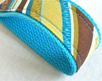 Wristlet Key Fob - Turquoise and Brown Stripes Keychain - READY TO SHIP