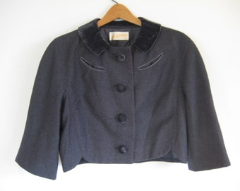 RESERVED FOR JODIE - Gray Wool 1950s Jacket with Velvet Collar