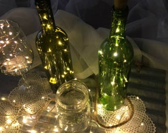 Light-Up Wine Stopper Party Decor!  Wine cork lights. Christmas party or New Year's party. 19-in & 10 Fairy Lights.  Wine Bottle lights.