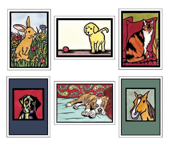Pet Collection - 6 Blank Greeting Cards - Bunny or Rabbit, Cat, Puppy, Dog, Pony or Horse - Pet Sympathy, Pets at Play - Notecards