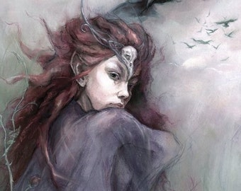 MIDSUMMER SPECIAL 25% OFF ~ Queen Of The Skies (The Morrigan) , A4 print