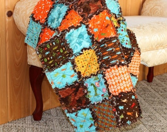 Boy Rag Quilt, Baby Blanket, Meadow Friends, Bugs, Insects, Blue, Orange