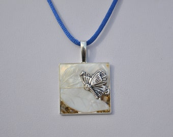 Butterfly pendant and mother of Pearl leaves