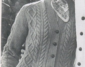Arran Women's Cardigan Pattern Knitting PDF / Sizes 12 14 16 / Button-up cardigan pattern / fisherman knit sweater / aran knitted sweater