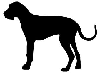 Great Dane Dog Breed Silhouette Custom Die Cut Vinyl Decal Sticker - Choose your Color and Size