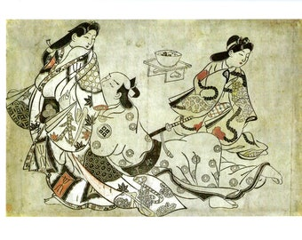 THE INSISTENT LOVER by Sugimara Jihei, Vintage Japanese 2-Sided Color Book Art Print, Romance,
